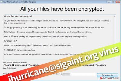 Image shows ihurricane@sigaint.org virus' ransom note