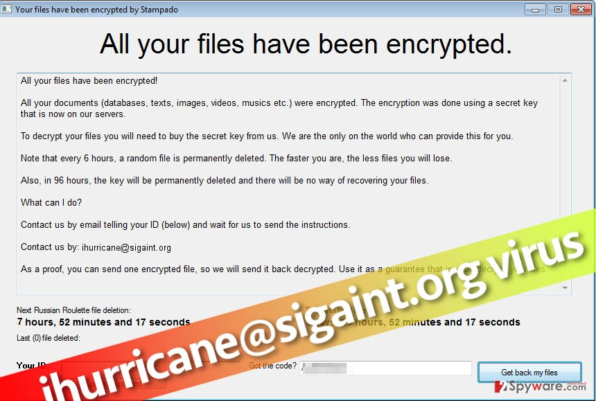 Image shows ihurricane@sigaint.org virus' ransom note