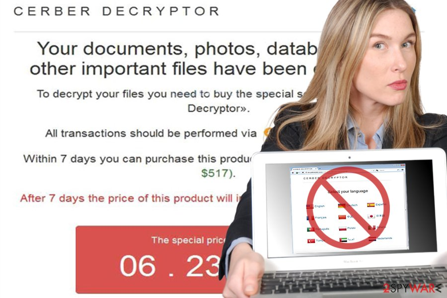 Image of Cerber Decryptor site
