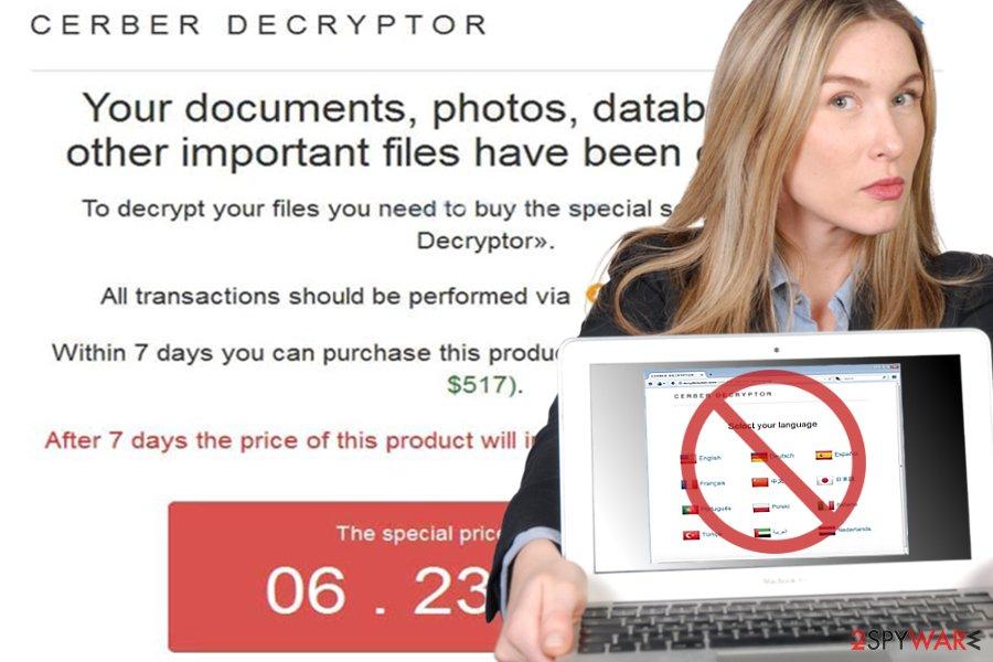 Image of Cerber Decryptor site