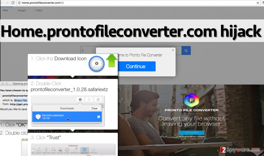 Home.prontofileconverter.com redirect virus adds extensions to web browsers