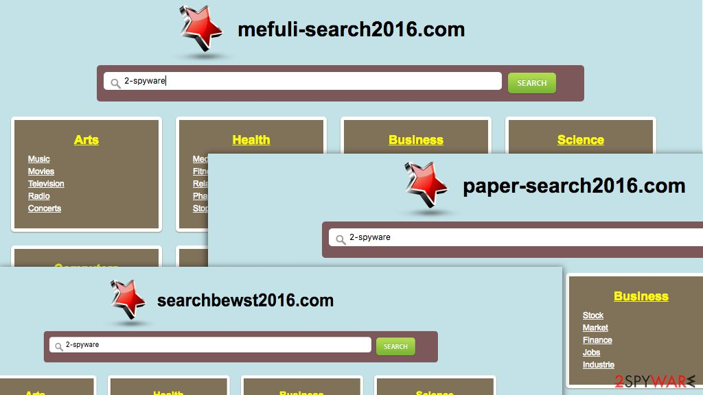 Illustration of Mefuli-search2016.com virus