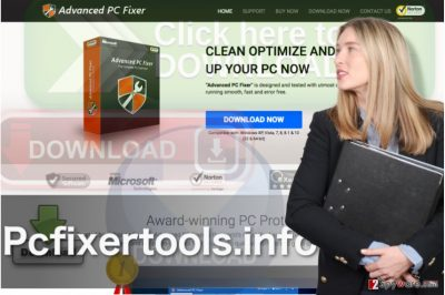 Picture showing official Pcfixertools.info homepage