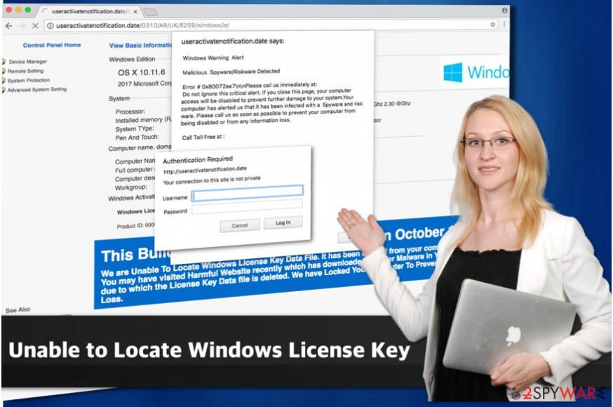 """Unable to Locate Windows License Key"" scam"