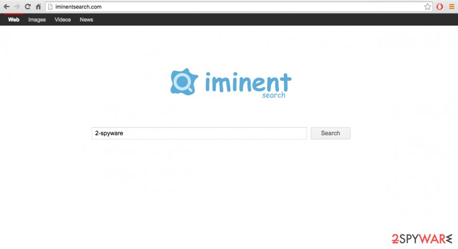 A screenshot of the iminentsearch.com browser hijacker website