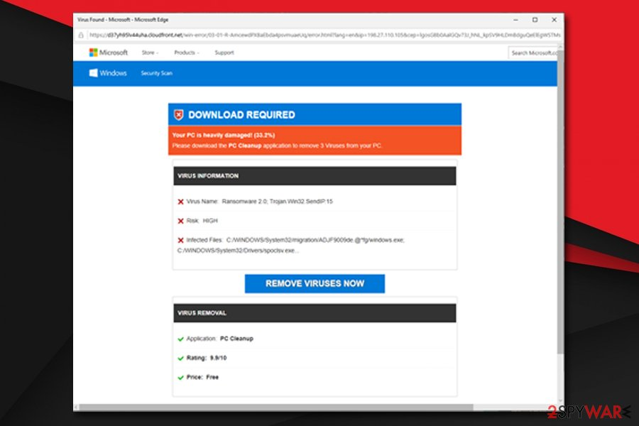 Immediate Action Required asks to download fake tools