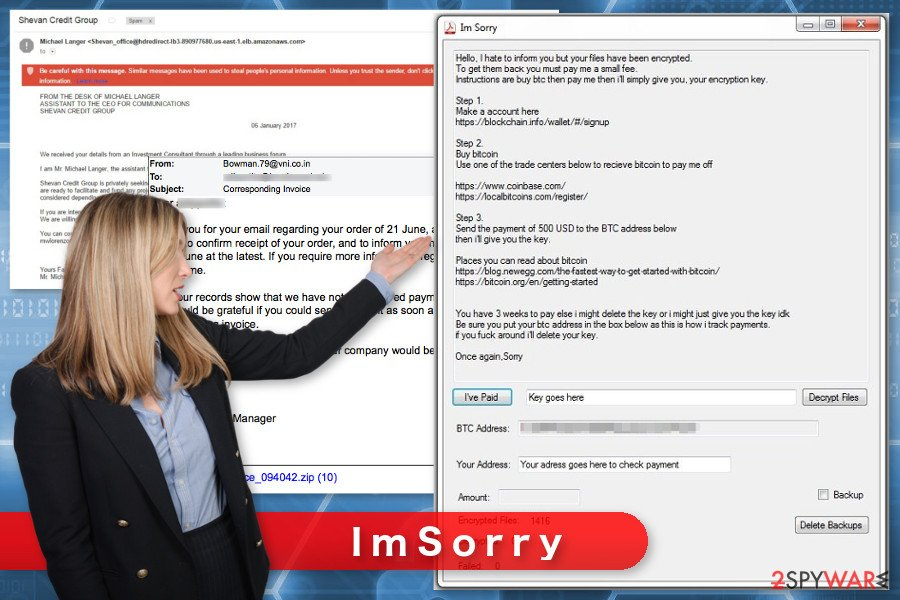 The image of ImSorry ransomware virus