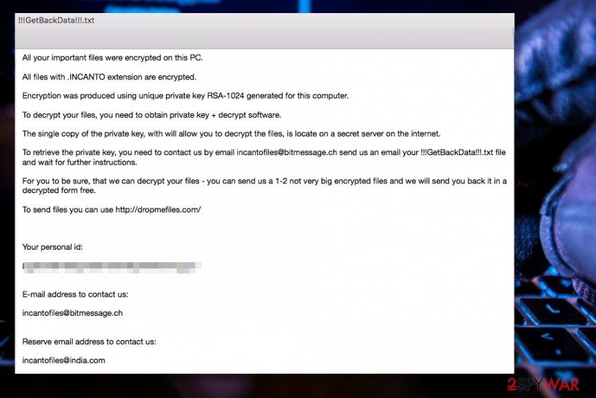INCANTO ransomware