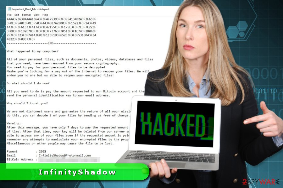 InfinityShadow ransomware virus illustration