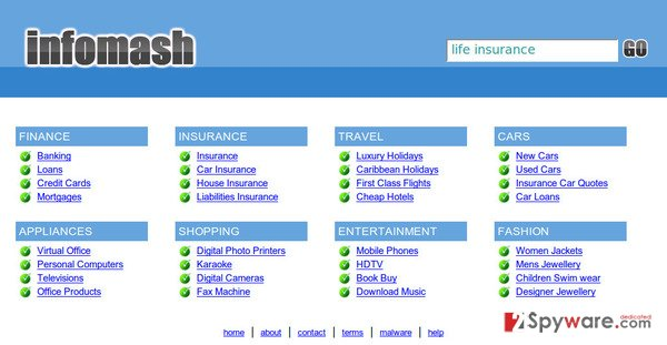 InfoMash redirect snapshot