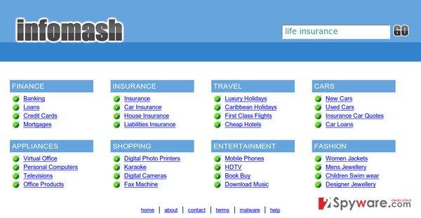 InfoMash redirect snapshot