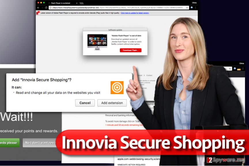 Pop-up ads by Innovia Secure Shopping virus