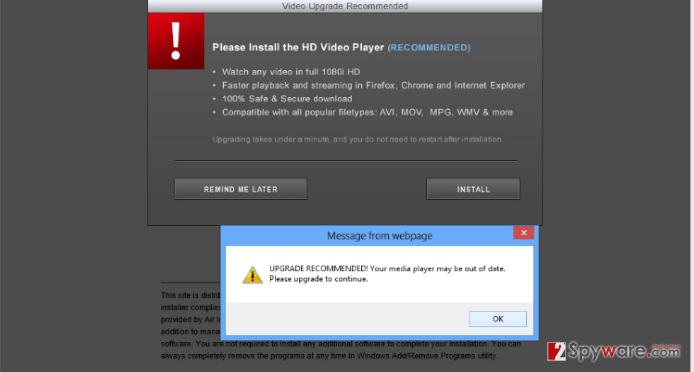 Install-free.net pop-up virus snapshot