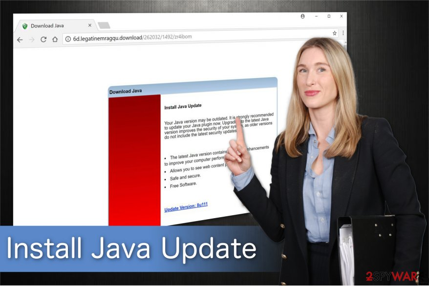 "The illustration of ""Install Java Update"" scam alert"