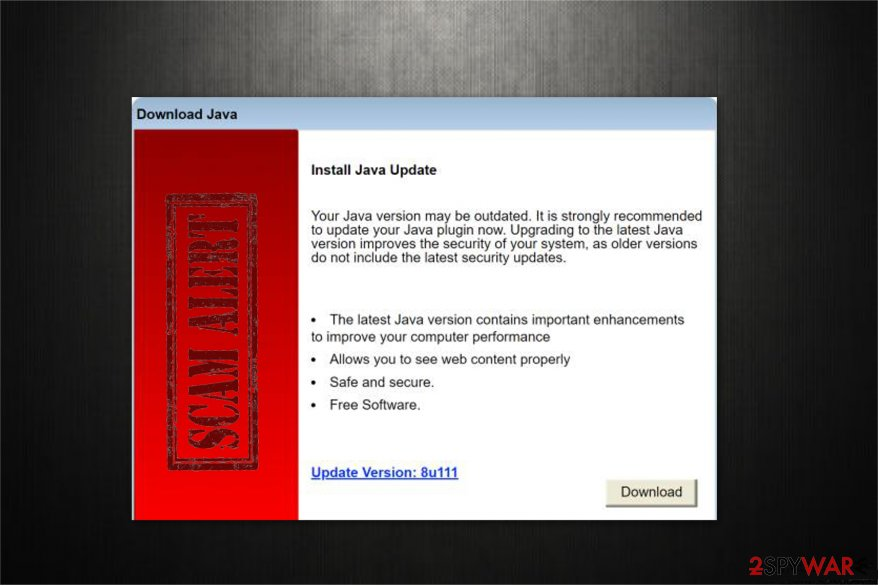 """Install Java Update"" scam pop-up"