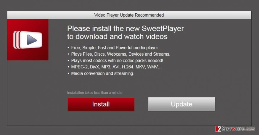 """Install Video Downloader in order to watch videos"" pop-up virus snapshot"