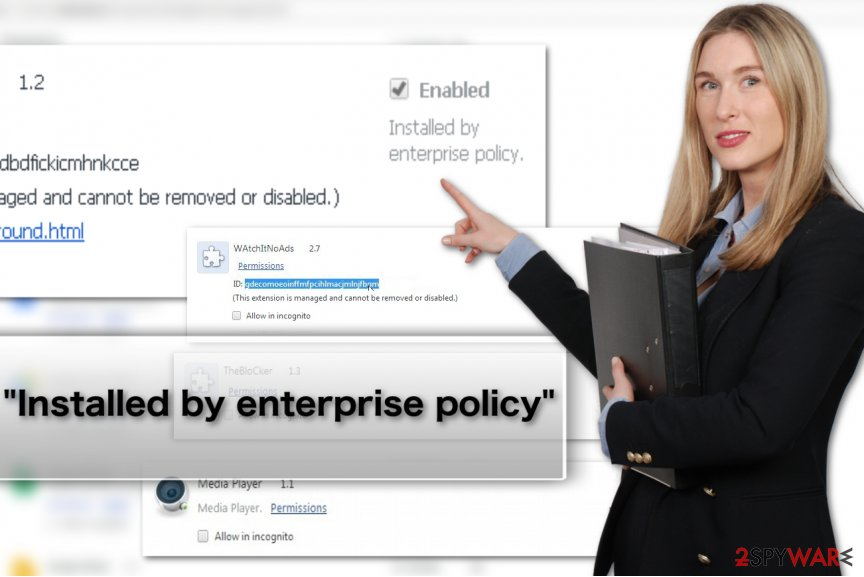 """Installed by enterprise policy"" virus image"