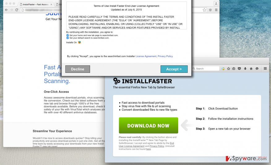 Screenshot of InstallFaster New Tab redirect virus installation