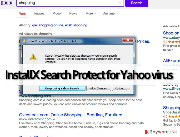 InstallX Search Protect for Yahoo alert