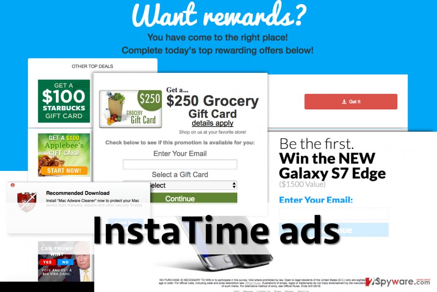 InstaTime adware displays possibly dangerous ads