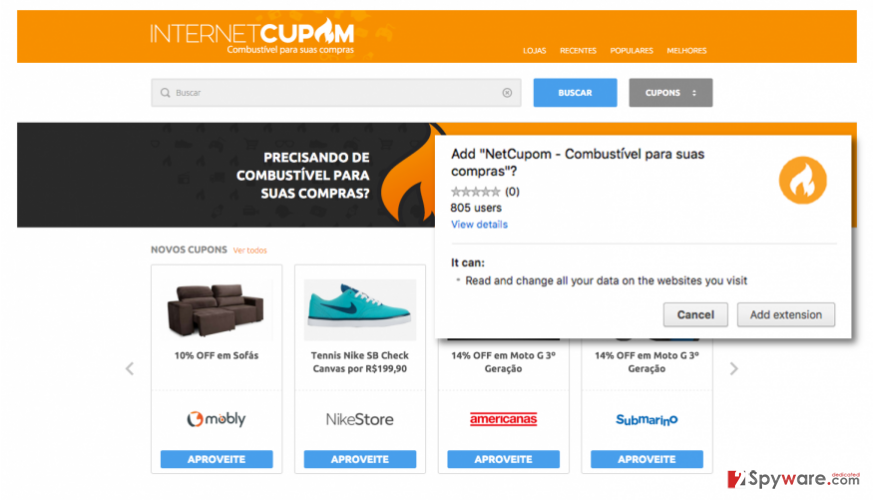 Ads by Internet Cupom official website