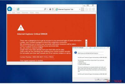 """Internet Explorer Critical ERROR"" virus"