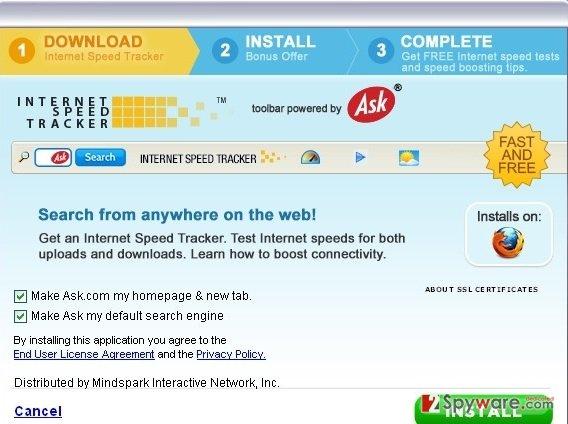InternetSpeedTracker Toolbar search