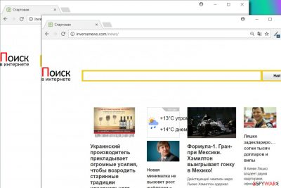 Inversenews.com hijacks web browsers to change their settings