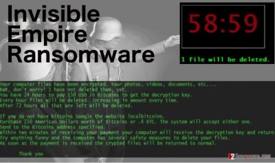 An illustration of the Invisible Empire ransomware virus