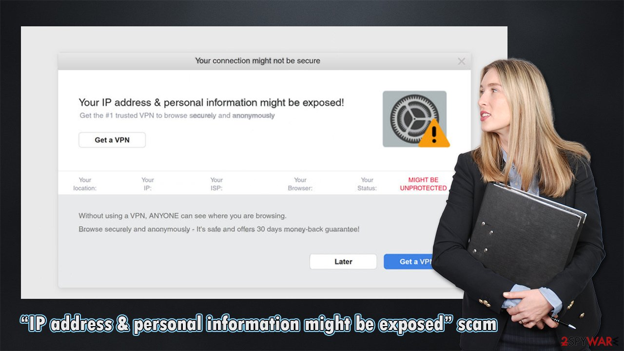 """""""IP address & personal information might be exposed"""" scam fake"""