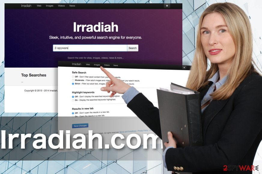 Screenshot of the Irradiah.com virus