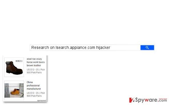 Isearch.appiance.com hijacker website