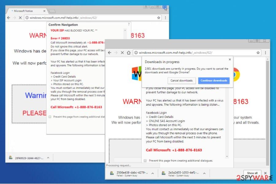"Screenshot of ""ISP HAS BLOCKED YOUR PC"" scam"