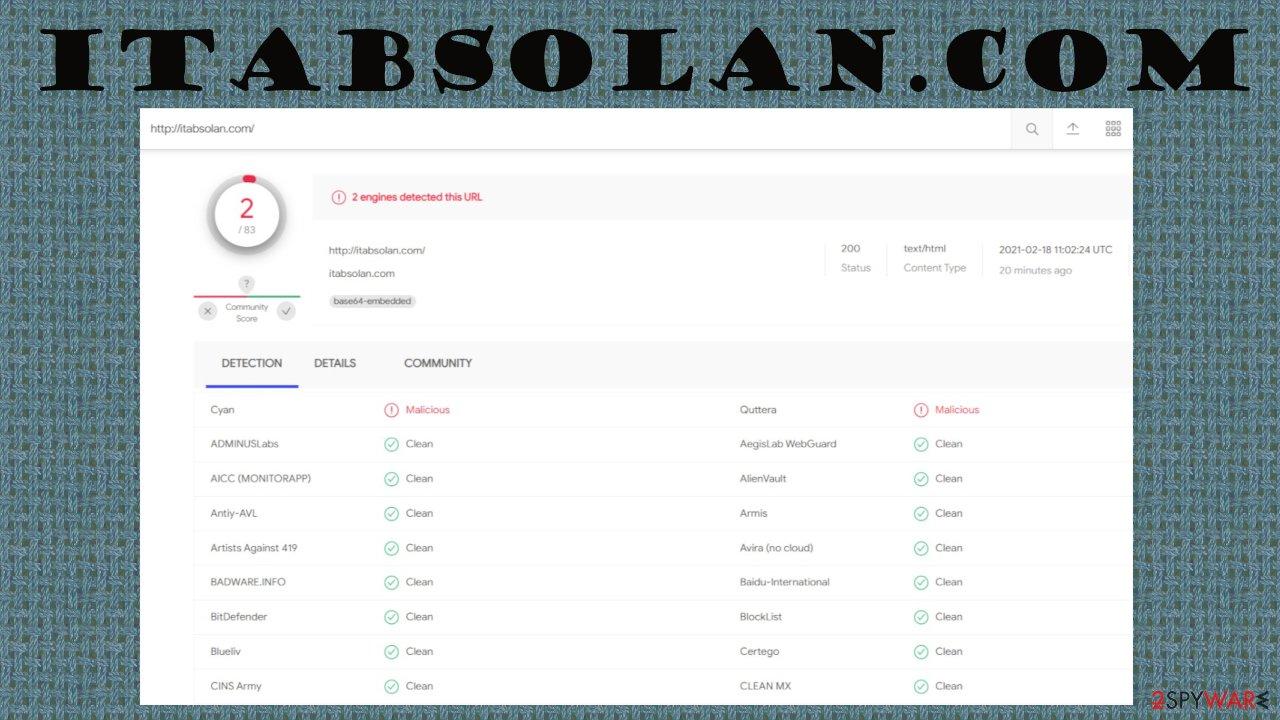 Itabsolan.com push notification virus