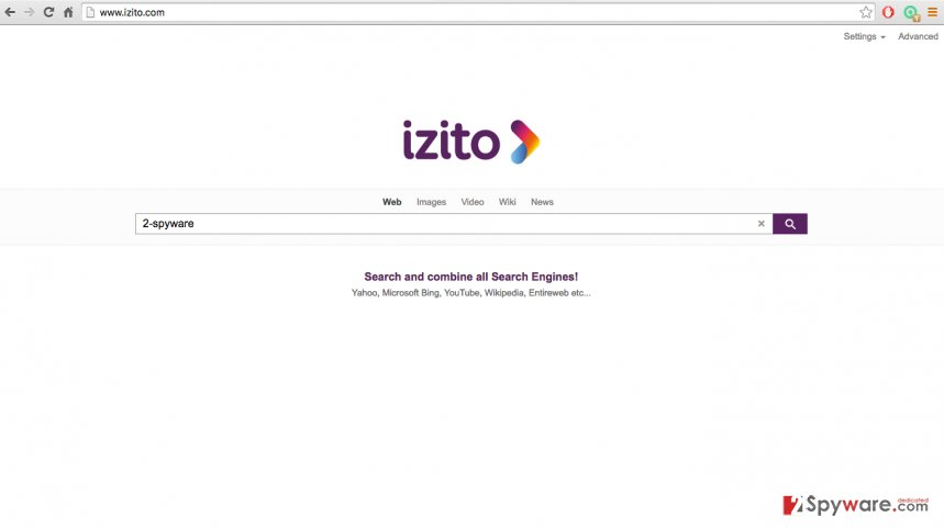 An image of Izito.com browser hijacker site