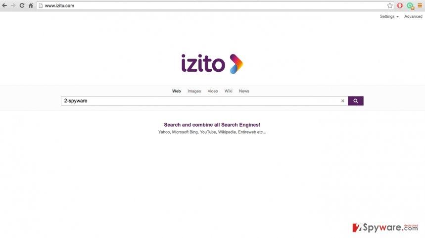 An image of Izito.com browser hijacker site