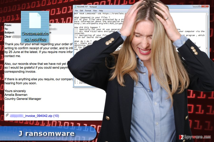 The image of J ransomware virus