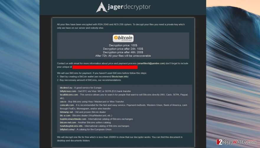 Jager ransomware payment page