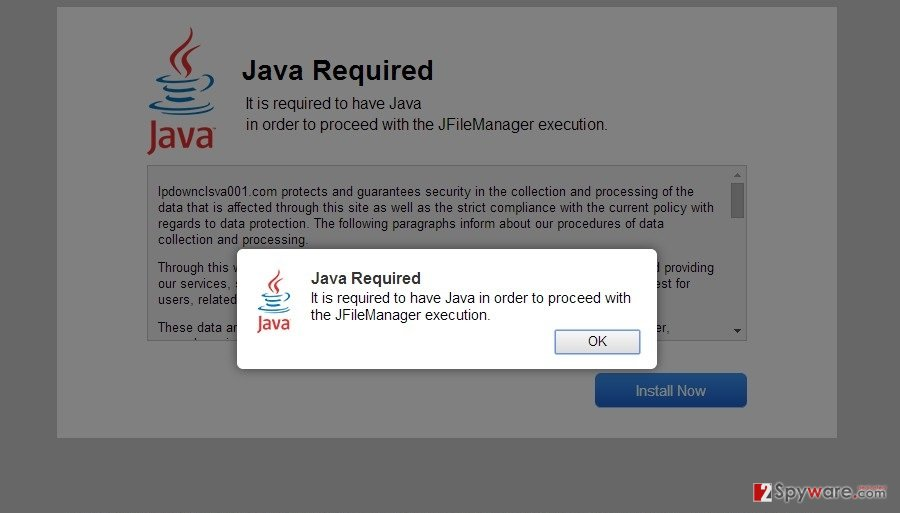 """Java Required"" virus snapshot"