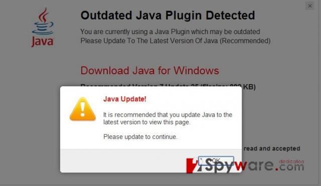 """""""Java Software Critical Update"""" virus snapshot"""