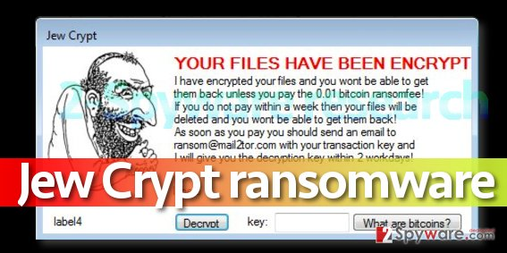 Ransom note by Jew Crypt ransomware