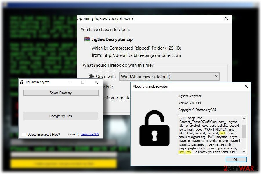 Jigsaw ransomware decryption software