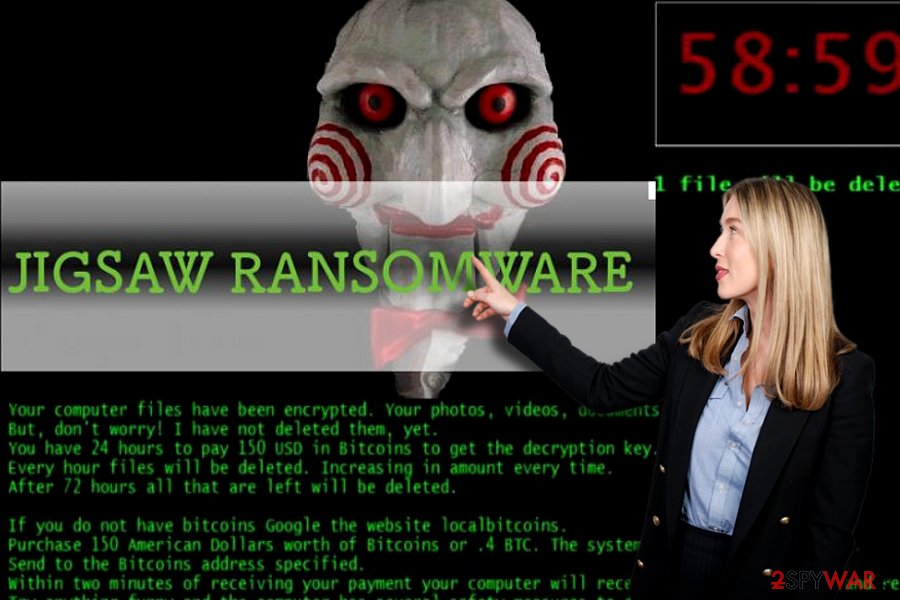Jigsaw ransomware virus illustration