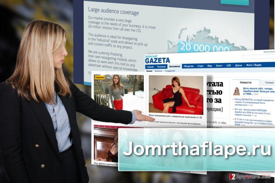 Illustration of Jomrthaflape.ru adware