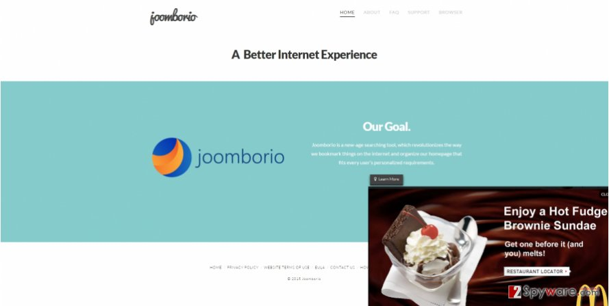 The picture displaying Joomborio.com virus