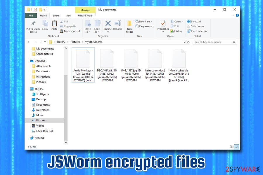 JSWorm ransomware encrypted files