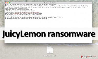 JuicyLemon virus leaves this note in the compromised computer