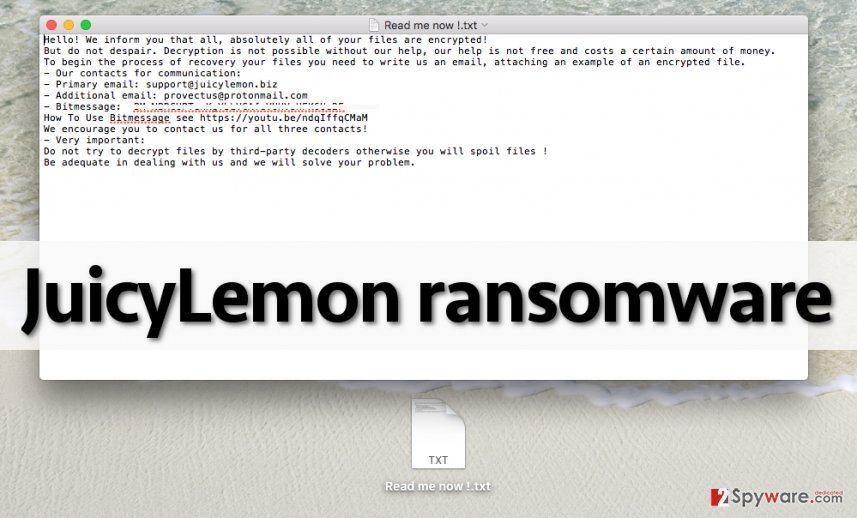 Ransom note by JuicyLemon malware
