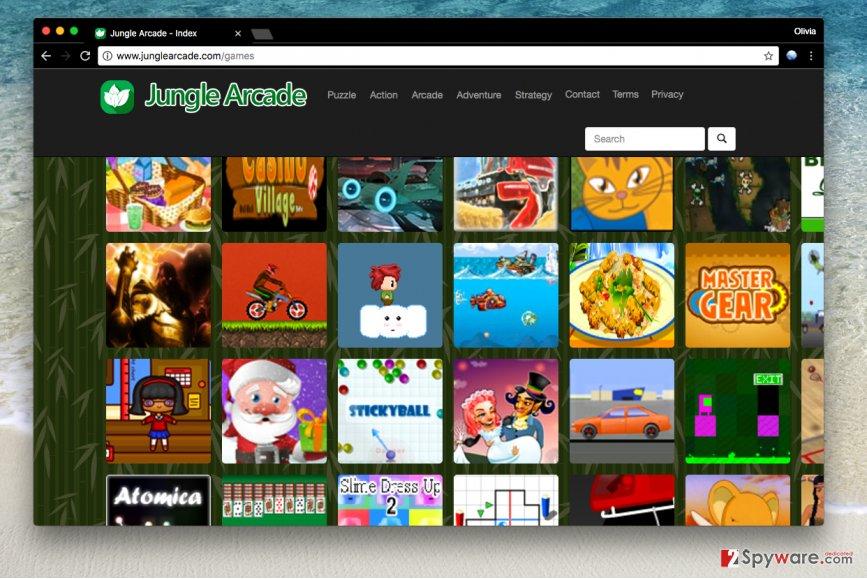 Jungle Arcade adware site
