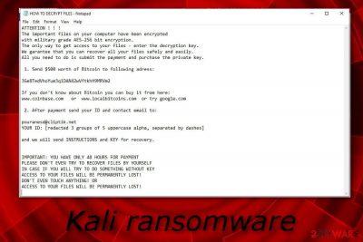 Kali ransomware virus